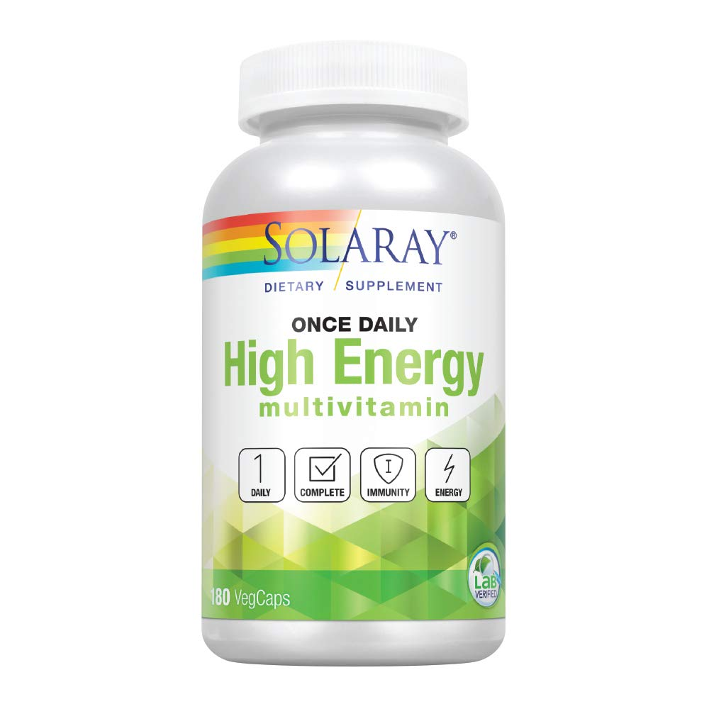 Solaray Once Daily High Energy Multivitamin Supports Immunity Energy Whole Food Base Ingredients Men s and Women s Multi Vitamin 180 VegCaps