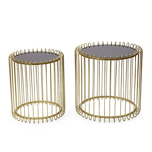 Adeco FT0256-gold Decorative Nesting Round Side Accent Plant Stand Chair for Bedroom, Living Room and Patio, Set of 2 End Tables Gold,Black Glass