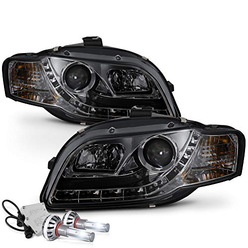 VIPMOTOZ Chrome Smoke LED Strip DRL Projector Headlight Headlamp Assembly For 2006-2008 Audi B7 A4 S4 RS4 Halogen Model - Built-In CSP LED Low Beam, Driver & Passenger Side