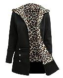 Romacci Women's Zip Up Casual Hoodie Leopard Fleece Lined Sweatshirt Jacket