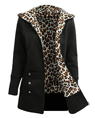 Leopard Hoodie (Romacci Women's Zip Up Casual Hoodie Leopard Fleece lined Sweatshirt Jacket)