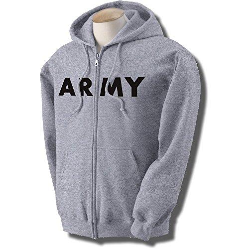 Grey Physical Training Zipper Sweatshirt - ARMY Full-Zip Hooded Sweatshirt in Gray, Large