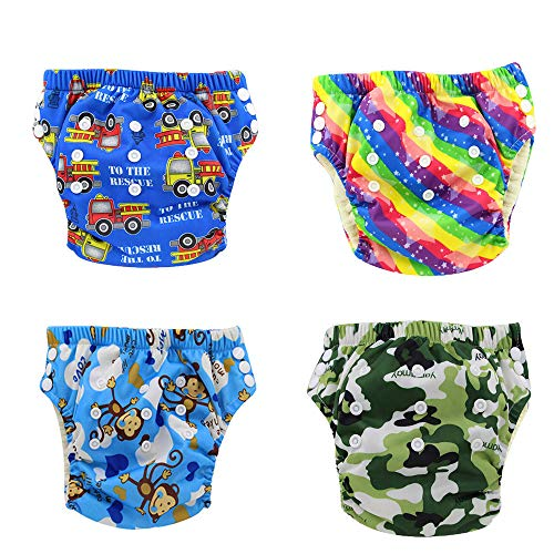 Pants Waterproof Training (Ohbabyka Waterproof Reusable Baby Diaper Training Pants, 4PCS (Training pants012))