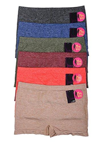 Women's Seamless Panty Stretch BoyShorts Pack of 6 (HthrPlus-6pack)