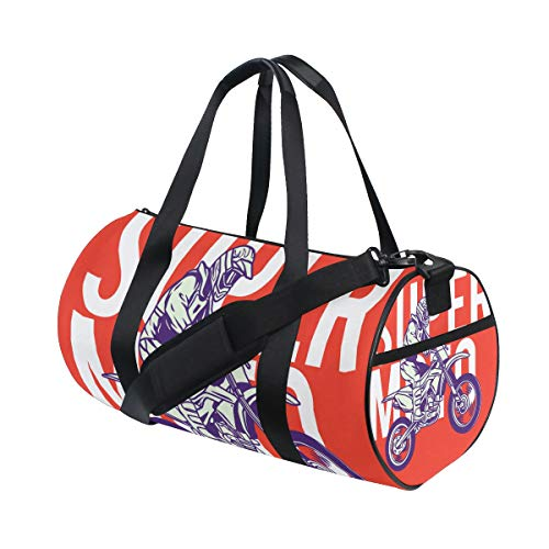 (YCHY Supermoto Rider Ride Bike Illustration Water Resistant Gym Sports with independent zipper Travel Duffel Bag for Women and Men)