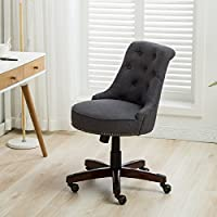 BELLEZE | Tufted Button Adjustable Chair | Pneumatic Gas Lift | 360 Degree Swivel | Mahogany Wood | Nail Head Trim | Linen | Gray