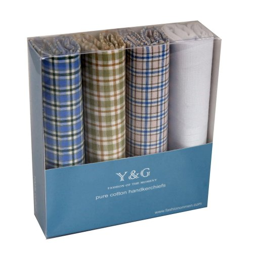 YEB0102 Checkered 4 Piece In Present Box Y&G Hankies For Wedding - ()