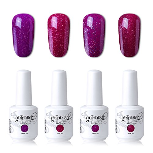 Elite99 Soak Off Gel Polish Lacquer UV LED Nail Art Manicure Kit 4 Colors Set LM-C109 + Free Gift (20pcs Gel Remover Wraps)