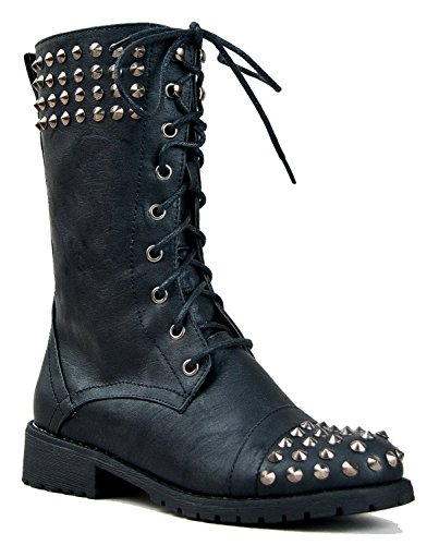 Studded Short Boot - Harley 14 Womens Military Lace up Studded Combat Boot Black 10