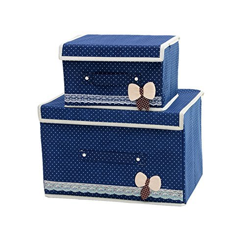 Foldable Storage containers with lids-KYW Heavy Duty Clothes Toys Fabric Storage Boxes-2packs For Home,Kitchen,Bedroom,2000+ Instagram Likes,24 -Hours Customer Support.30-Day,2-Years Warranty(blue)