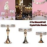 Cupcake Stands, 14 Set Metal Crystal Cake Holder Cupcake Stand Cake Dessert Holder with Pendants and Beads,Wedding Birthday Dessert Cupcake Pedestal Display, Gold USA STOCK (3, Gold-Mermaid)