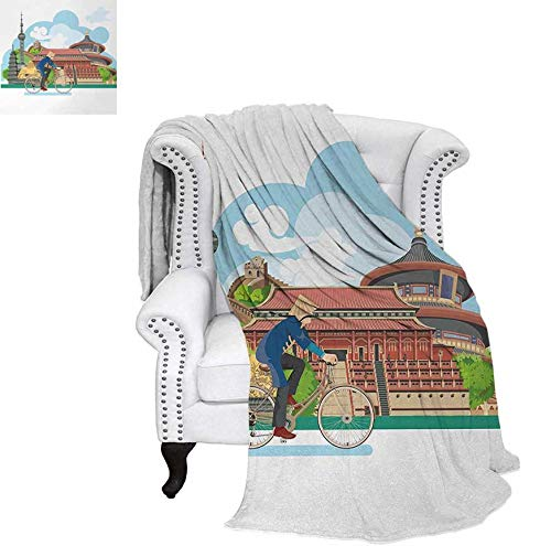 Custom Design Cozy Flannel Blanket Chinese Elements Traditional Architecture and Costumes Behind a Cycling Man Lightweight Blanket 62