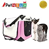 PET4FUN PN951 Foldable Pet Puppy Dog Cat Carrier & Travel Crate w/ Premium 600D Oxford Cloth, Strong Steel Frame, Carry Bag, Locking Zippers, Washable Nap Pad, Room Airy Windows (Medium/Pink)