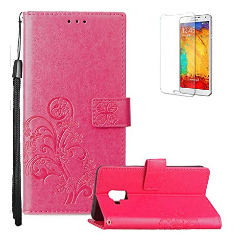 Funyye Strap Magnetic Flip Case for Galaxy A8 Plus 2018,Luxury Rose Red Lucky Flower Four-Leaf Clover Pattern Wallet Case Stand Credit Card Holder Slots Soft Silicone Case for Galaxy A8 Plus 2018