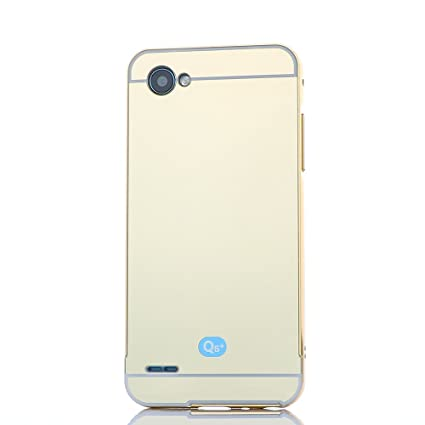 LG Q6 Metal Case, ZLDECO Aluminum Metal Frame + Shiny Mirror Hard Back Case Hybrid Cover with 1 Tempered Glass Screen Protector Protective for LG Q6 ...