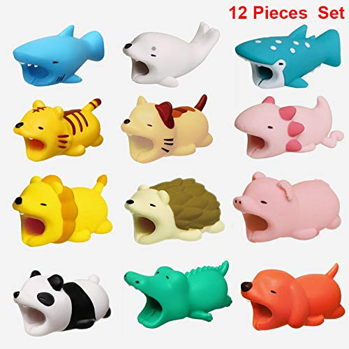 12 Pieces Cable Bites Cute Animal Cable Accessory for iPhone Cables Protector (Dog + Shark+Crocodile+Wave Point Shark+Seal+Rabbit+Tiger+Cat+Panda+Axolotl+Hedgehog+Lion+Pig)Animal bite Cable Protector BROUYOUE