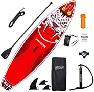 """Inflatable Stand Up Paddle Board 10.5' x 32.5""""x 6"""" Thick Round Board Includes Pump, Paddle, Back"""