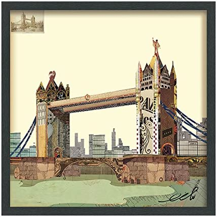 Empire Art Direct London Bridge Dimensional Collage Handmade by Alex Zeng Framed Graphic Landscape Wall Art 25 x 25 x 1.4 , Ready to Hang
