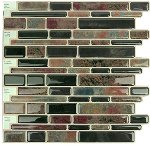 "Crystiles Peel and Stick Self-Adhesive DIY Backsplash Stick-on Vinyl Wall Tiles for Kitchen and Bathroom Décor Projects, Item# 91010882, Multi-Color Marble Style, 10"" X 10"" Each, 6 Sheets Pack by Crystiles"
