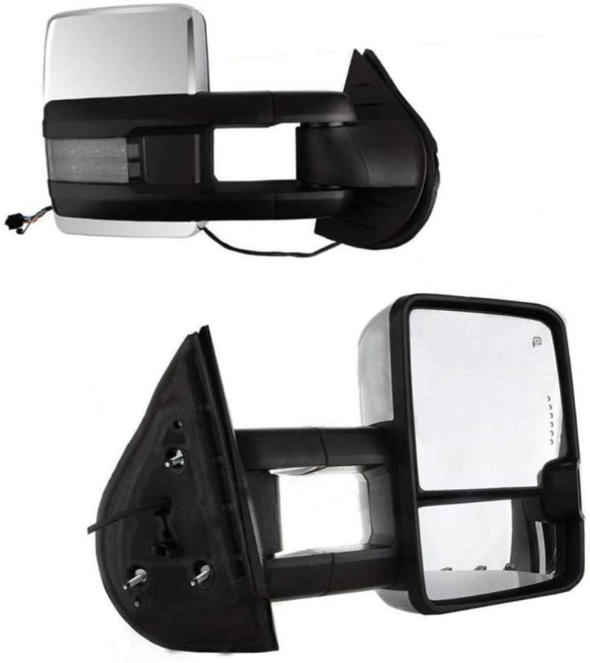 99-02 Sierra Silverado Chrome Power Heated Tow Mirrors Pair+Smoke LED Signal