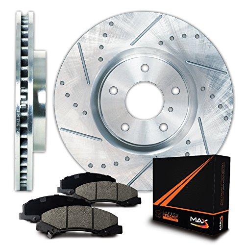 Max Brakes Zinc Coated Slotted+Drilled Rotors w/Ceramic Pads Front Perforamnce Brake Kit KT058011 [Fits 1994 - 2004 Ford Mustang SVT Cobra] (Mustang Brake Cobra Front)