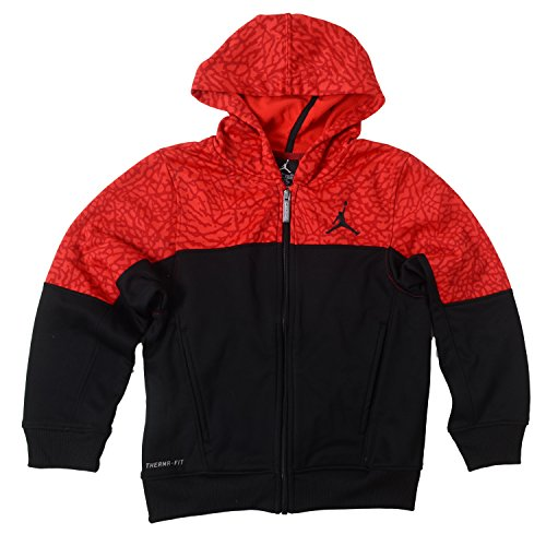 Nike Big Boys Jordan Therma-Fit Full Zip Hoodie (Large, Black / Red)