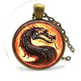 Dragon Necklaces Mortal Kombat Pendants Glass Dome Jewelry Glowing Necklace - Religious Jewelry