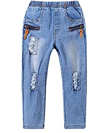 Kidscool Space Little Child Zipper Pockets Decor Brief Style Ripped Stretchy Slim Jeans