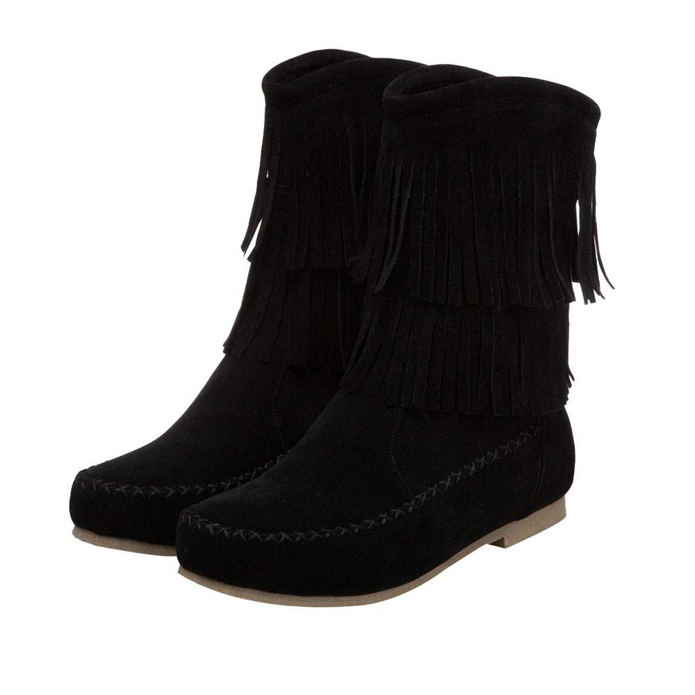 Boots For Women, HOT SALE !! Farjing Fashion Tassel Low Cylinder Boots Flock Women's Boots Flat Boots(US:7,Black)