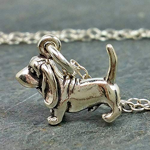 Tiny Bassett Hound Charm Necklace - 925 Sterling Silver, 18