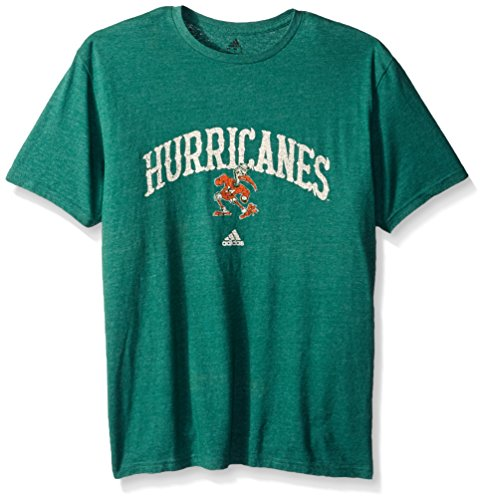NCAA Miami Hurricanes Men's Pastime Arch Vault Tri-Blend Short Sleeve Tee, Large, Dark Green - Men Miami In