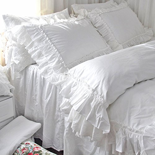 2 F Style of Set Cotton Shams Lace Size House White Queen's Pillowcases H Standard qH8gpg