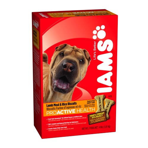 Biscuits 4lb Box (IAMS PROACTIVE HEALTH Adult Dog Biscuits Lamb Meal and Rice 4 Pounds (Pack of)