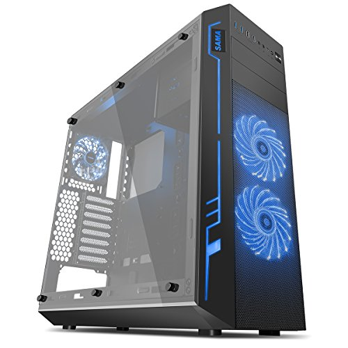 Sama Ark Gaming Tower Case with 2 RGB Front/Rear Fan and Full Side Window -...