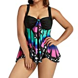 Rambling New Fashion Butterfly Printing Tankini for Women, Plus Size Bikini Swimwear Swimsuit Bathing Suit