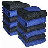 65-70 lbs/Dozen Supreme Moving Blankets - Ultra Thick Pro(Double Batting) - 72'' x 80'', 12 Pack, Black/Blue - Southern Wholesales