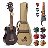 Hola! Music HM-121BK+ Deluxe Mahogany Soprano Ukulele Bundle with Aquila Strings, Padded Gig Bag, Strap and Picks - Black