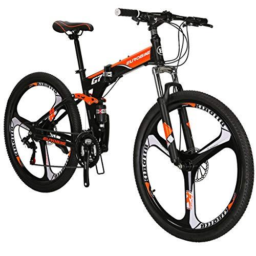 Eurobike Folding Bike TSM G7 Bicycle 27.5Inch Dual Disc Brake Bike (Orange 3-Spoke)