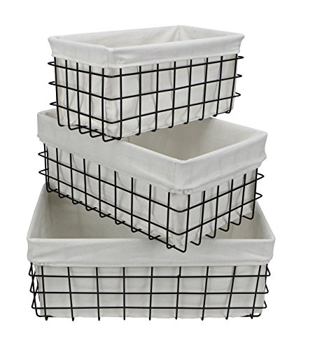 Cheung's 16S002-3 Set of 3 Lined Metal Wire Rectangular Storage, Black, 3 Piece