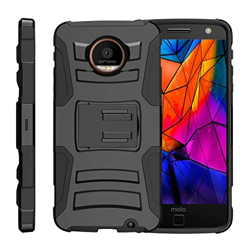 TurtleArmor | Motorola Moto Z Force Droid Case | Z Force Droid Edition [Hyper Shock] Tough Rugged Shell Stand Shock Silicone Holster Belt Clip Military War Camo Design - Black