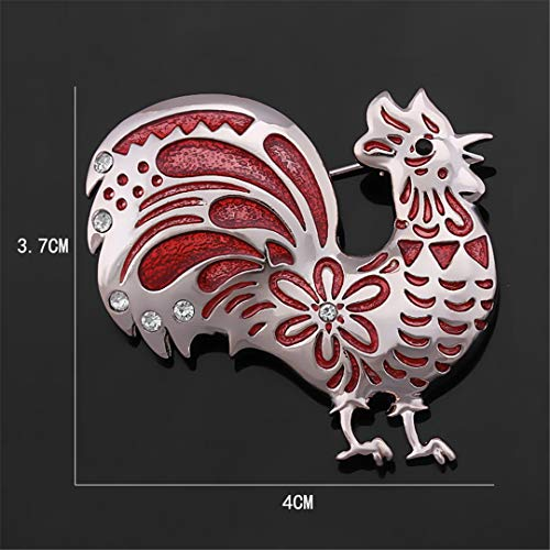 AHDUNCSIOWHG Crystal Rhinestones Chicken Rooster Enameled Brooch Pins for Women 1188 red