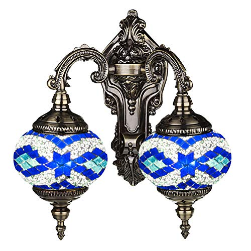 (Mosaic Lamp-Handmade Turkish Mosaic Double Wall Lamp with Mosaic Lantern, Bronze Base, Unique Double Glass Mosaic Wall Light for Room Decoration (Blue))