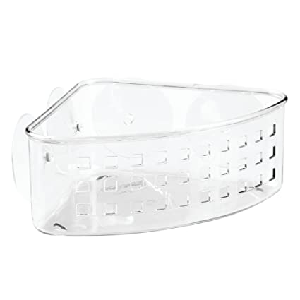 InterDesign Bathroom Shower Suction Corner Basket For Shampoo, Conditioner,  Soap   Clear