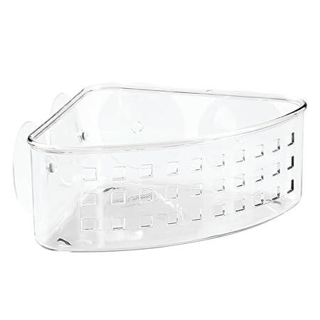 InterDesign Basic Corner Shower Basket, Plastic Shower Basket With Suction  Cups, Clear