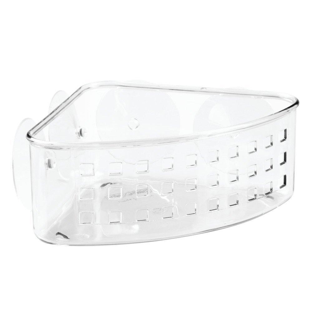 InterDesign Bathroom Shower Suction Corner Basket for Shampoo, Conditioner, Soap - Clear