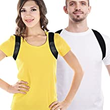 Adjustable Figure 8 Posture Corrector Upper Back & Shoulder Support Brace, Best Posture Brace Back Corrector for Women & Men(Black, Small)