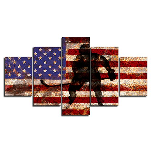 Red Line USA US American Soldier Military Army Flag Rustic Wall Art Canvas Vintage Prints Home Decor Decals Pictures for Bedroom 5 Panel Poster Painting Artwork Framed Ready to Hang(60
