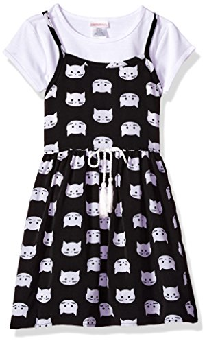 Youngland Little Girls' 2 Pc Set, Cat Face Printed Jumper Dress With T-Shirt, Black/White, (Face Jumper Set)