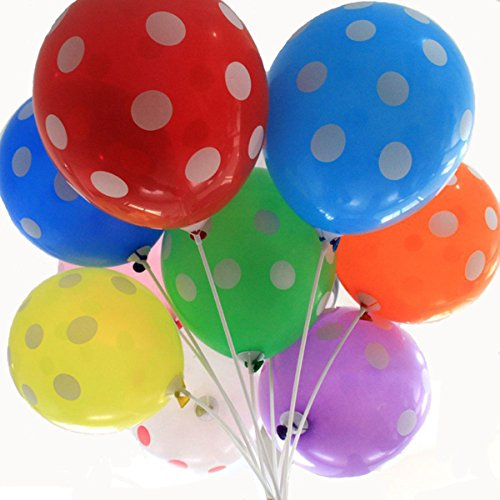 50 Ct 12 Inches Polka Dot Balloons Assorted Color 12 Inch Helium Quality Latex Inflatable for Festival Party Decoration Happy Birthday Home Decor Air Balls (Multicolor)