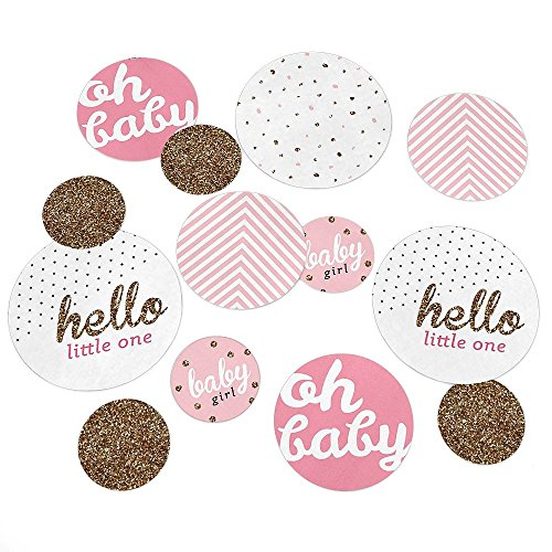 Hello Little One - Pink and Gold - Girl Baby Shower Party Table Confetti Set - 27 (Baby Shower Table)